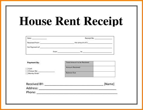 house rent receipt 8 rental receipt template pdf park attendant