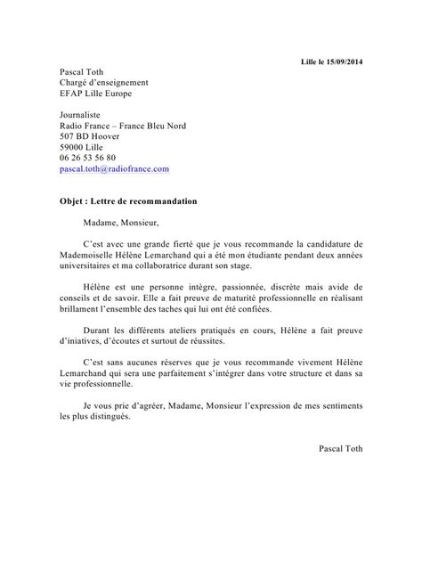 Exemple De Lettre Professionnelle Lettre De Recommandation Professionnelle Quelle Est Utilit 233