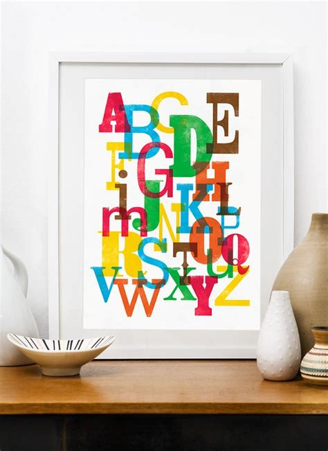 Alphabet Decor by Alphabet Poster Letter Colorful Wall Decor Nursery