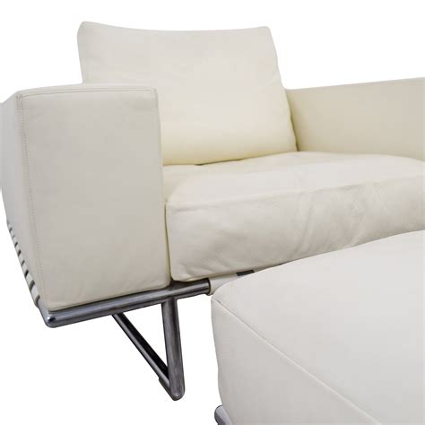 Ottoman White Leather 85 Moura Moura Italian White Leather Chair With Ottoman Chairs