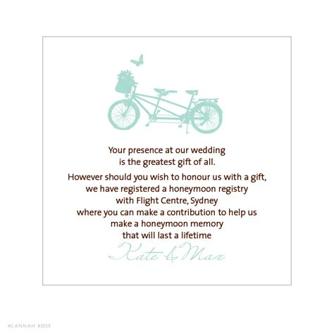 Gift Registry Cards In Wedding Invitations - alannah rose wedding invitations stationery shop online bicycle built for two