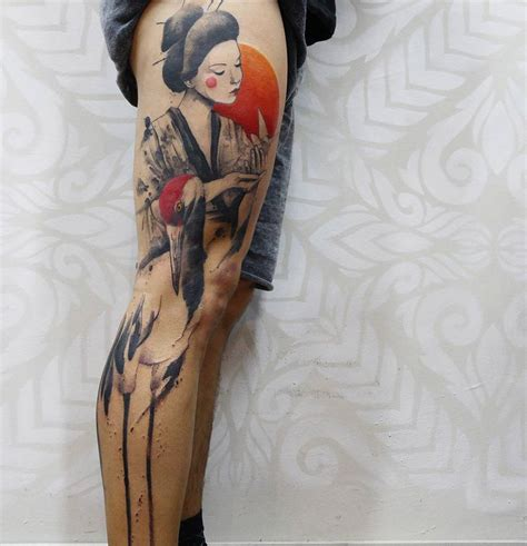 geisha amp crane full side of leg best tattoo design ideas