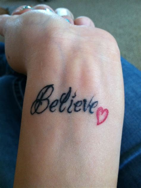 believe tattoo on wrist
