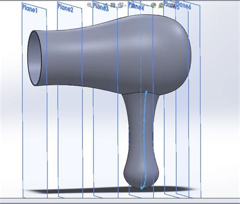 Using Hair Dryer Side Effects using the loft feature in solidworks exercise 4 in solidworks cad mode