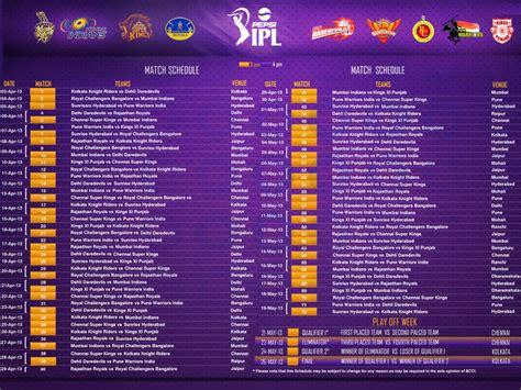 ipl schedule 2016 ipl calendar 2016 calendar template 2018