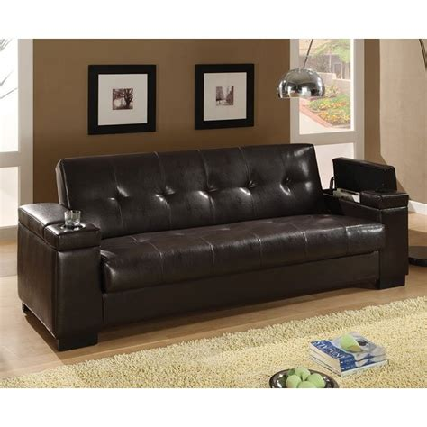 Brown Faux Leather Sofa Bed by Brown Faux Leather Sofa Bed By Coaster Furniture