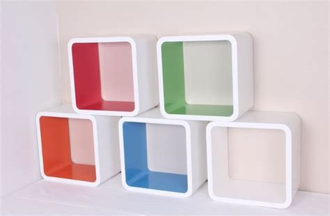 wall cube set shelves blue white orange green 12 quot x8