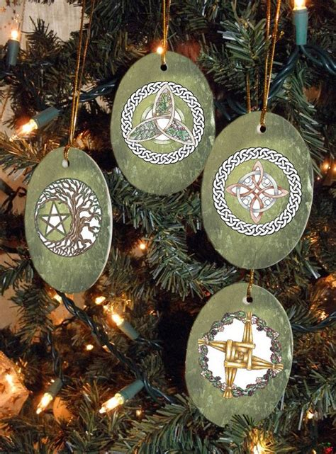 pagan christmas decorations set of four magical symbols yule winter by mickiemuellerstudio