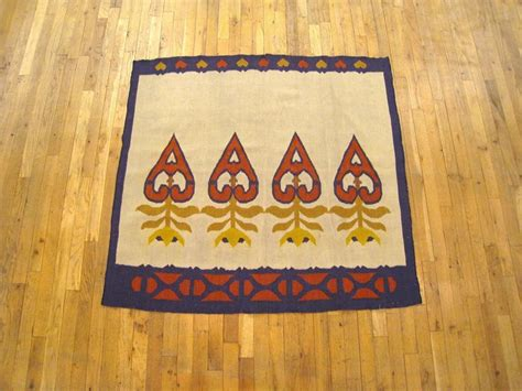 small square rugs vintage turkish kilim rug small square size w medallions on ivory bed at 1stdibs