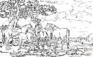 Landscape Coloring Pages For Adults Mares And Foals In A River Landscape By George Stubbs