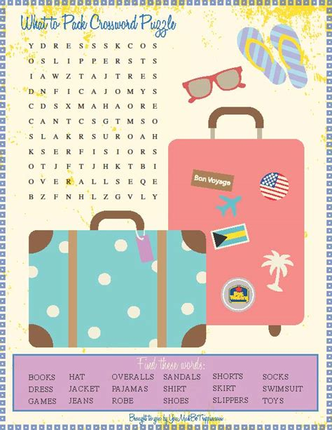 printable toddler travel games kid travel activities packing crossword puzzle click to