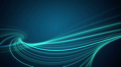 lines of green lights move in waves motion background