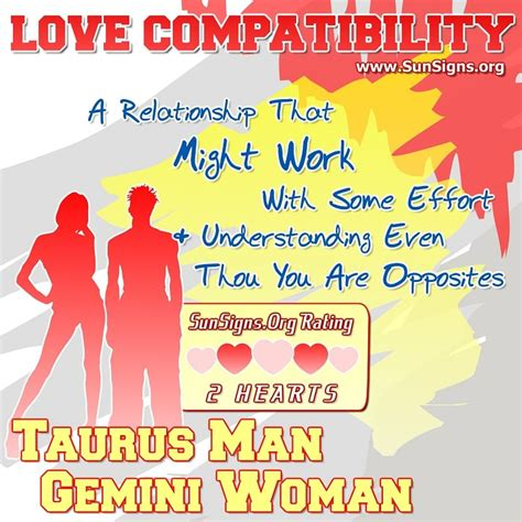 taurus man and gemini woman love compatibility sun signs