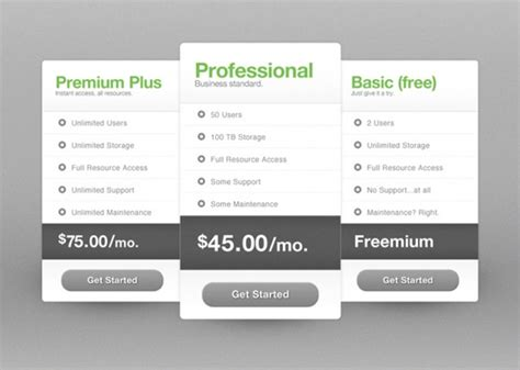 Free Price Table Template The Design Work Pricing Options Template
