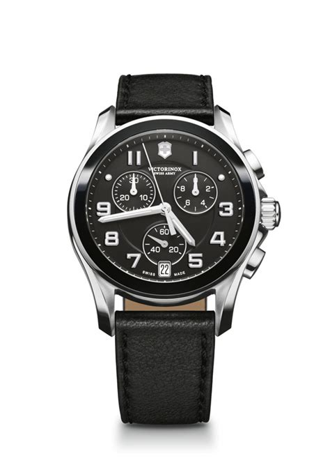 Swiss Army Date Chrono Black Leather Grade A victorinox swiss army chrono classic date black ceramic bezel steel and leather