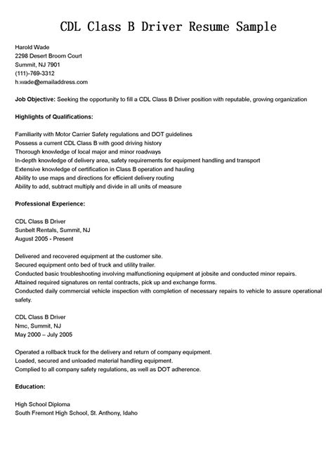 Driver Resumes: CDL Class B Driver Resume Sample