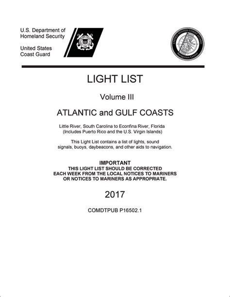 Uscg Light List by U S Coast Guard Light List Volume Iii 3 2017 Ed
