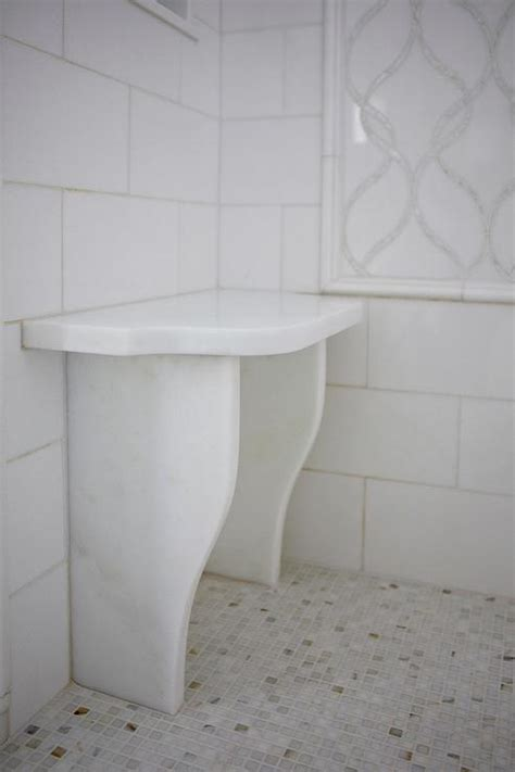 white bathroom bench white shower with marble water jet tiles and small shower