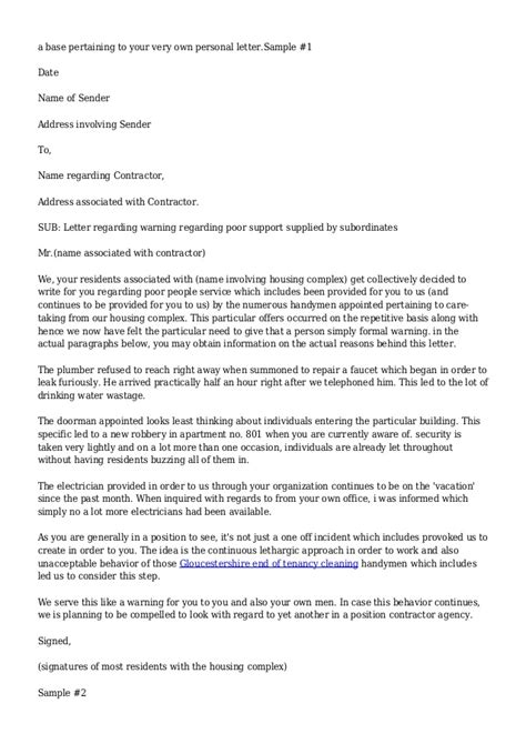 Complaint Letter For Contractor Sle Warning Letter To Contractor