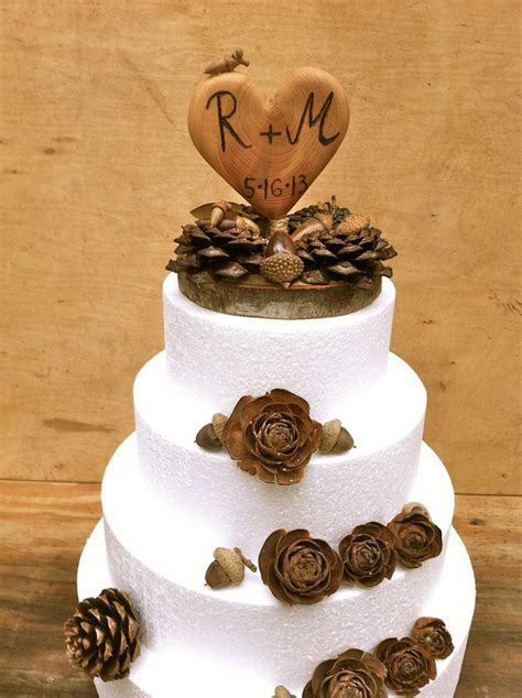 Fall Wedding Cake Topper   Rustic Cake Topper   Wooden