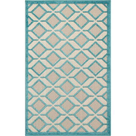 4 x 8 outdoor rug nourison aloha blue 2 ft 8 in x 4 ft indoor outdoor accent rug 298911 the home depot
