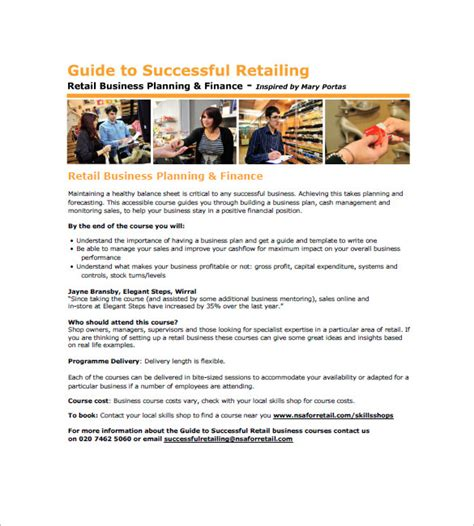 Retail Business Plan Template Pdf