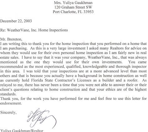 real estate referral letter examples thank you professional