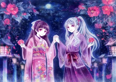 Purple Colors girls flowers gray hair japanese clothes kimono original