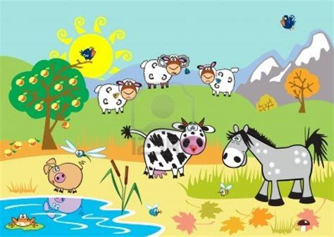 imagenes de animales infantiles paisaje horizontal con animales de granja infantil