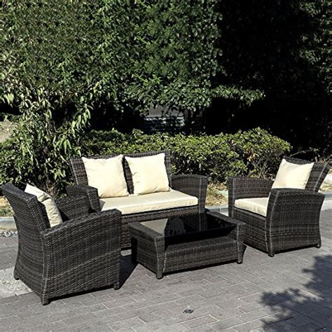 brown wicker patio furniture giantex 4 pcs cushioned outdoor wicker patio set garden