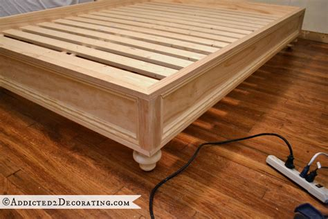 make a bed frame diy stained wood raised platform bed frame part 2