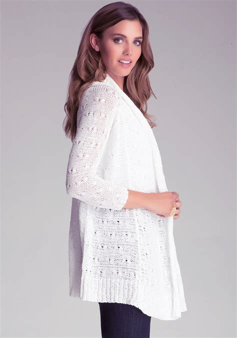 white drape cardigan bebe tape yarn drape cardigan in white lyst