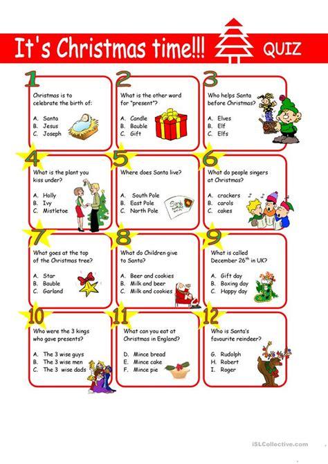 printable christmas quiz esl christmas quiz worksheet free esl printable worksheets