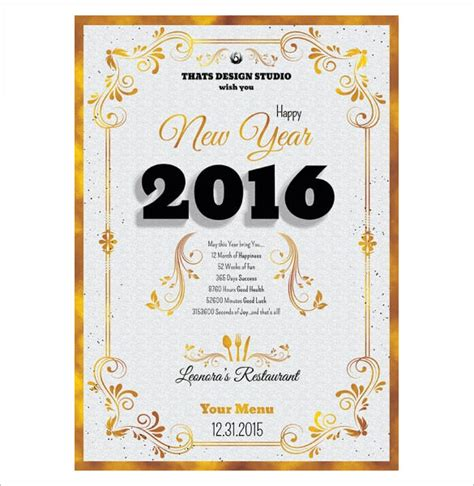 luckee new year menu word new year templates merry happy new year