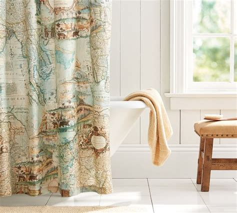 shower curtain pottery barn map shower curtain pottery barn