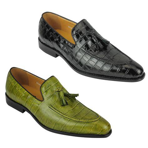mens crocodile print shiny real leather tassel loafers