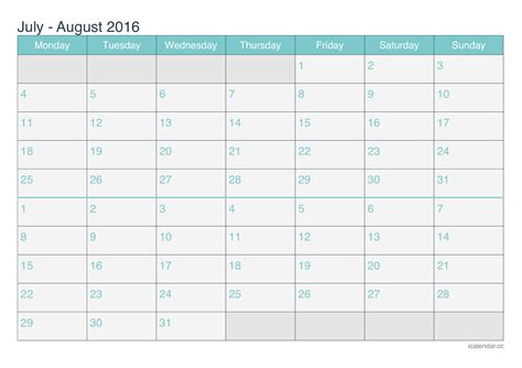 printable calendar 2016 july august september july and august 2016 printable calendar icalendars net