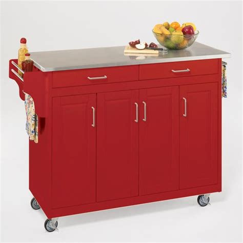 home styles create a cart red kitchen cart with stainless