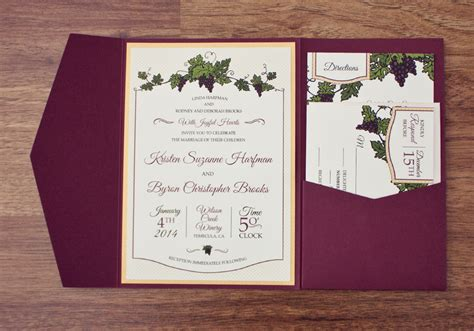 Wine And Gold Template Wedding Invitation Card Sle by Vineyard Wedding Invitation