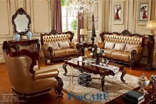 usa solid wood golden yellow genuine leather sofas set living room furniture with wood