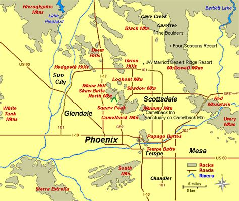 arizona points of interest map geophoenix portal to the geography geology geoscenery