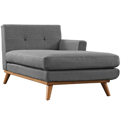 button tufted chaise engage modern button tufted upholstered right arm chaise gray