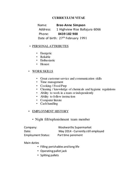 Resume Exle For Woolworth Resume Highview Rise