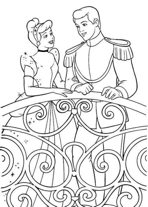 coloring pages of cinderella and prince charming kids