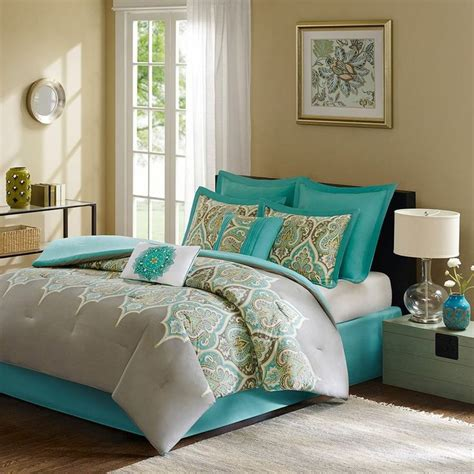 teal and grey comforter sets 8 piece madison park comforter set bed in a bag queen maya