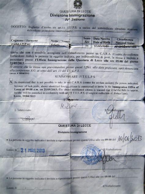 questura di lecce ufficio immigrazione foto rifugiati il documento della questura quot nei cara non