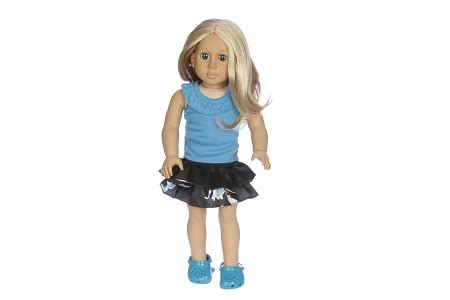 black doll company blue top with black skirt by bff doll company