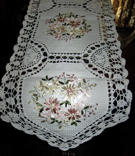 Dresser Runner Scarf by Embroidered Ribbons Lacy Crochet Table Runner Dresser Scarf Doily 68 Quot X 13 Quot Ebay