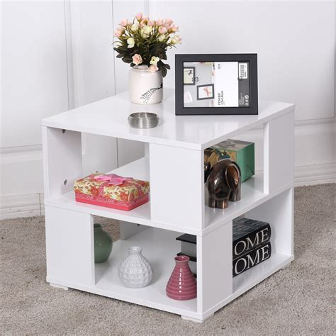 White Side Tables For Living Room - giantex modern wood square coffee table living room white