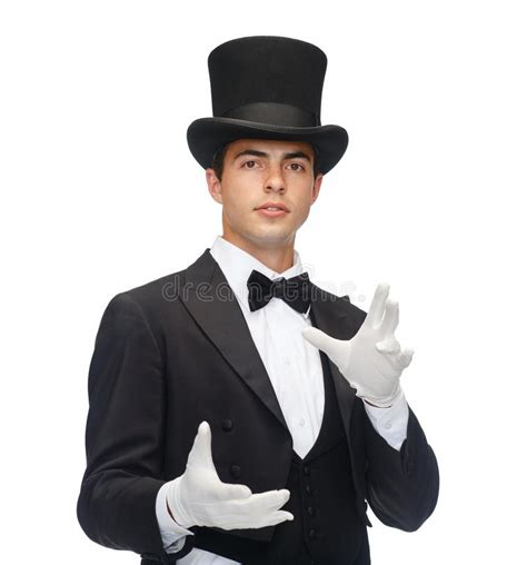 best magician magician in top hat showing trick stock image image